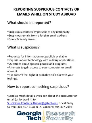 REPORTING SUSPICIOUS CONTACTS OR EMAILS WHILE ON STUDY ABROAD