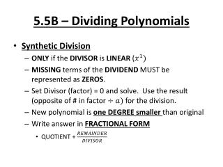 5.5B – Dividing Polynomials