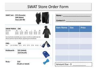 SWAT Store Order Form