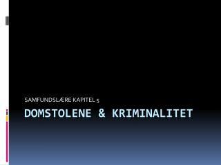 DOMSTOLENE & KRIMINALITET