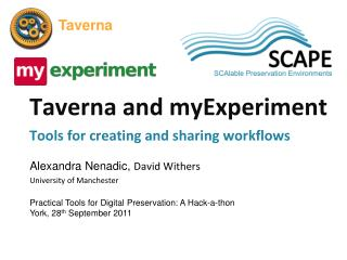 Taverna and  myExperiment