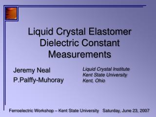 Liquid Crystal Elastomer Dielectric Constant Measurements