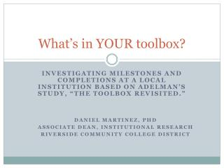 What�s in YOUR toolbox?