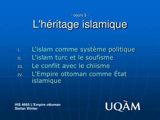 - cours 3 - Lh ritage islamique