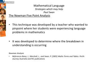 Mathematical Language Strategies which may help Paul Swan