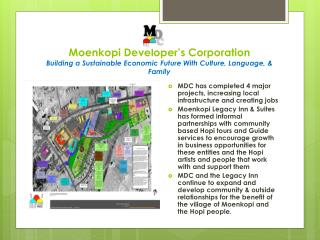 MDC has completed 4 major projects, increasing local infrastructure and creating jobs