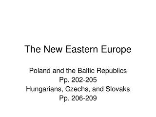 The New Eastern Europe