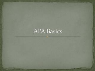 APA  Basics