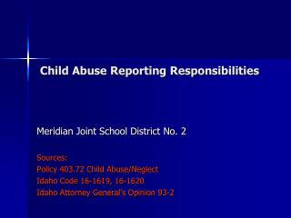 Child Abuse Reporting Responsibilities