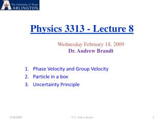 Physics 3313 - Lecture 8