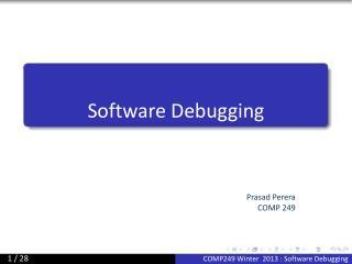Software Debugging