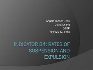 Indicator B4: Rates of Suspension and Expulsion