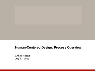 Human-Centered Design: Process Overview   Challis Hodge July 17, 2003
