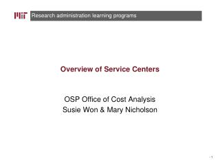 Overview of Service Centers