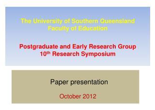 Paper  presentation October  2012