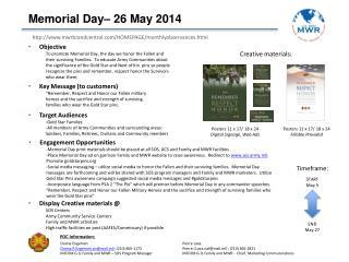 Memorial Day– 26 May 2014