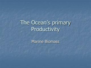The Ocean's primary Productivity