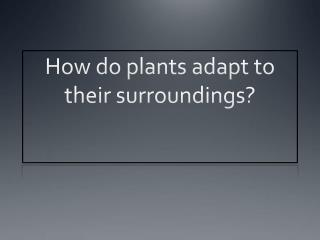 How do plants adapt to their surroundings?