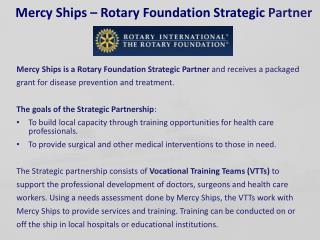 Mercy Ships – Rotary Foundation Strategic  Partner