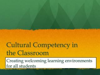 Cultural Competency in the Classroom