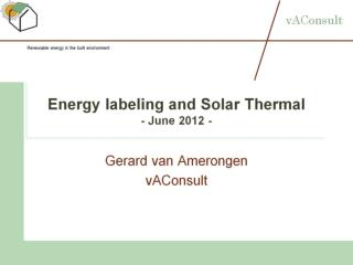 Energy labeling and Solar Thermal - June 2012 -