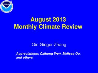 August  2013 Monthly Climate Review
