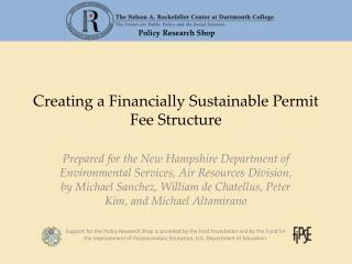 Creating a Financially Sustainable Permit Fee Structure