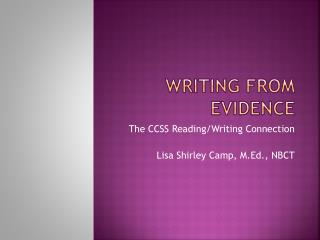 Writing from Evidence