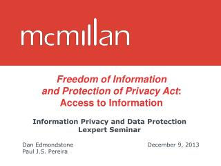 Information Privacy and Data Protection Lexpert Seminar