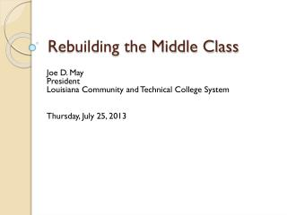 Rebuilding the Middle Class