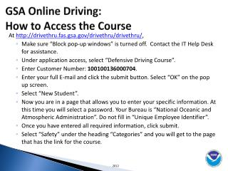 GSA Online Driving:   How to Access the Course