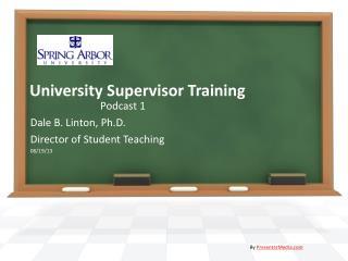 University Supervisor Training