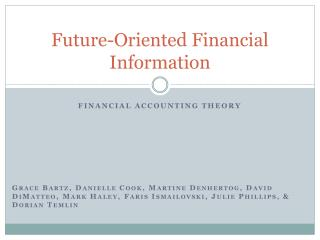 Future-Oriented Financial Information