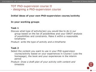 TOT PhD-supervision course II - designing a PhD-supervision course
