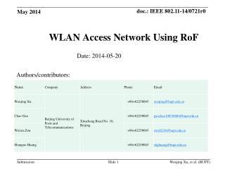 WLAN  A ccess Network Using  RoF