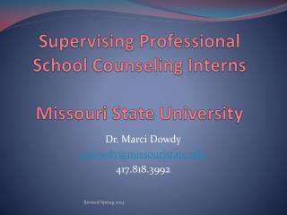 Supervising Professional School Counseling Interns Missouri State University