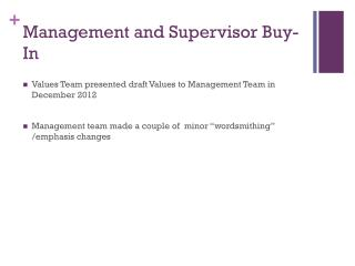 Management and Supervisor Buy-In