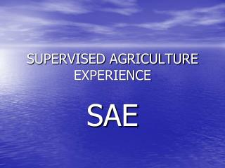 SUPERVISED AGRICULTURE EXPERIENCE