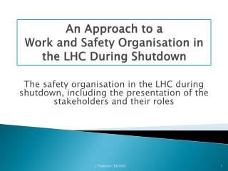 An Approach to a  Work and Safety Organisation in the LHC During Shutdown