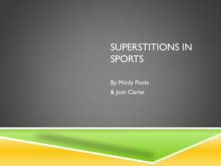 Superstitions  in sports