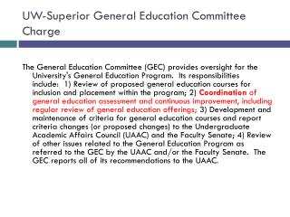 UW-Superior General Education Committee Charge