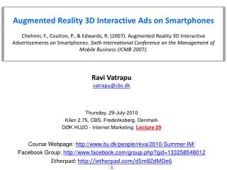 Augmented Reality 3D Interactive Ads on  Smartphones