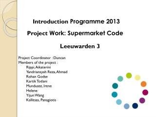 Project  Work: Supermarket Code