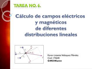Tarea No. 6. Cálculo de  campos  eléctricos  y magnéticos de diferentes  distribuciones  lineales