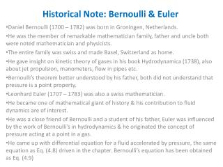Historical Note: Bernoulli & Euler