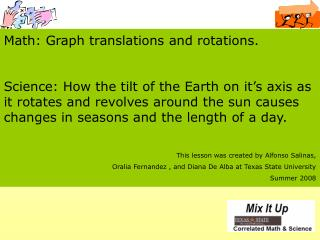 Math: Graph translations and rotations.
