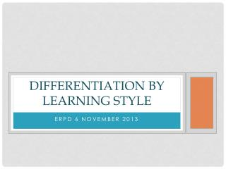 Differentiation by learning style