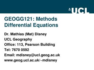 GEOGG121:  Methods Differential Equations