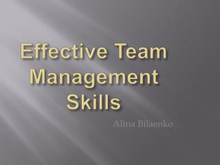 Effective Team Management Skills
