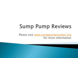 Sump Pump Reviews